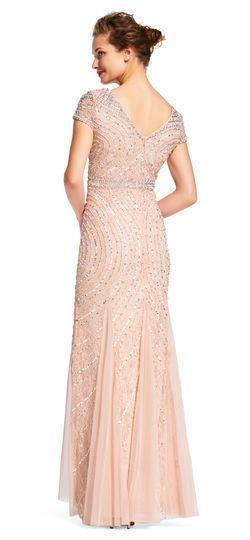 Adrianna Papell | Short Sleeve Contour Beaded Godet Dress with V-Back