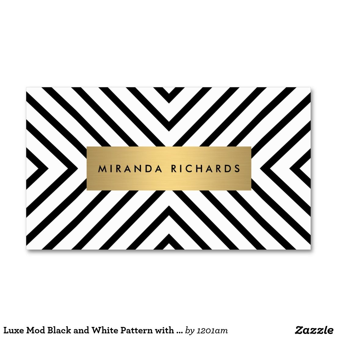 Luxe Mod Black and White Pattern with Gold Bar Business Card | White ...