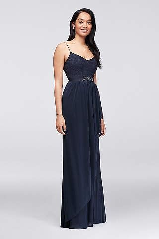 3e5b58f628ca Midnight blue Lace and Cascading Mesh Bridesmaid Dress available at David's  Bridal