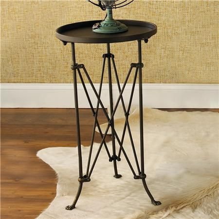 French Provincial Small Round Black Metal Side Table Telescopic Legs For Outdoor As Pot Stand