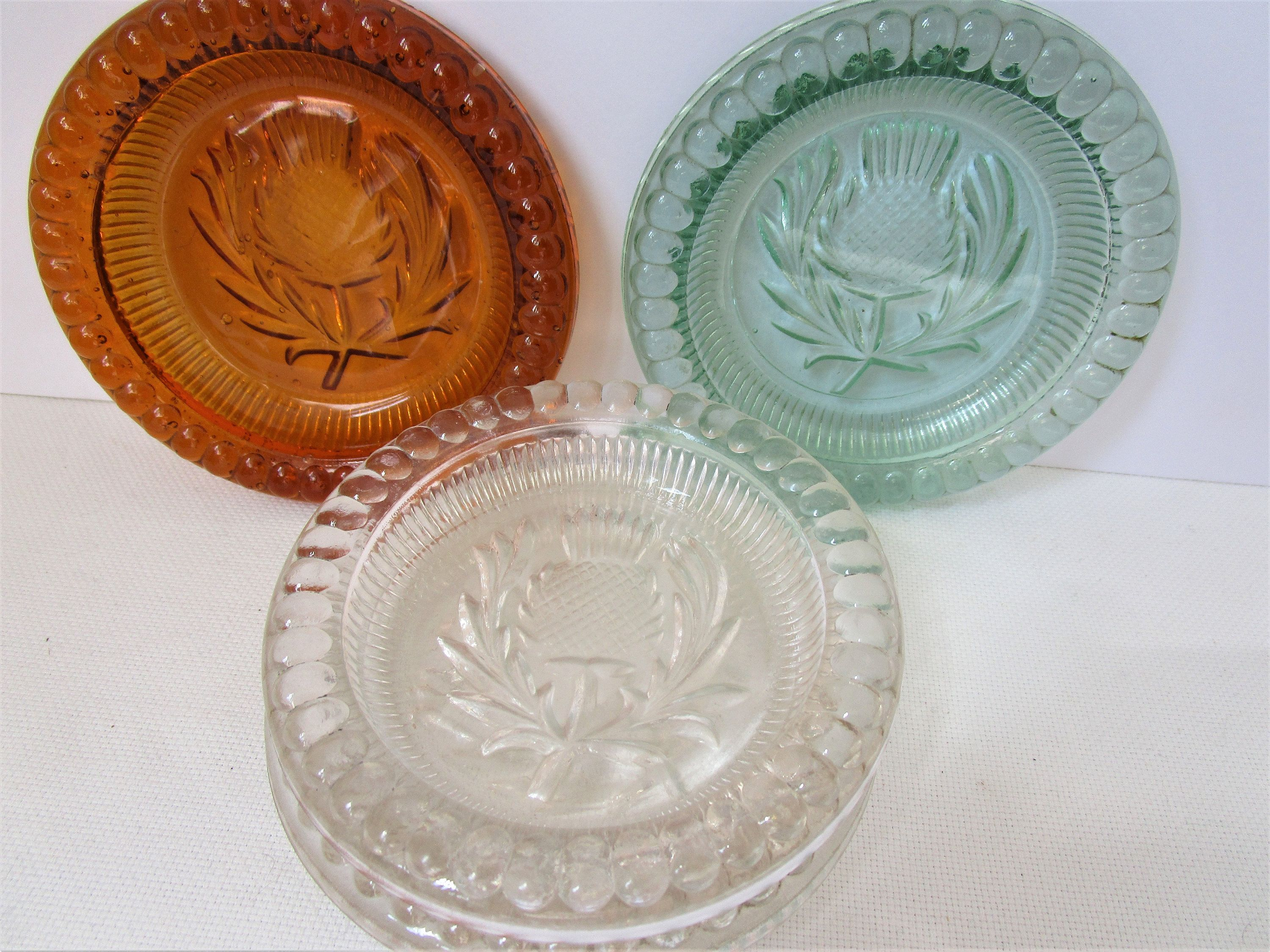 Four Vintage Glass Coasters Scottish Thistle Coasters Or Pin