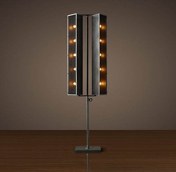 French Cinema Double Floor Lamp Aged Steel  If Anyones - Restoration hardware floor lamps