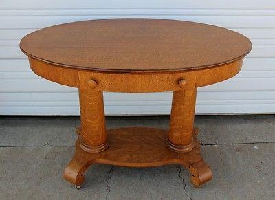 Antique 2 Pillar Oval Quarter Sawn Oak Library Table W Drawer U0026 2nd Shelf  Parlor
