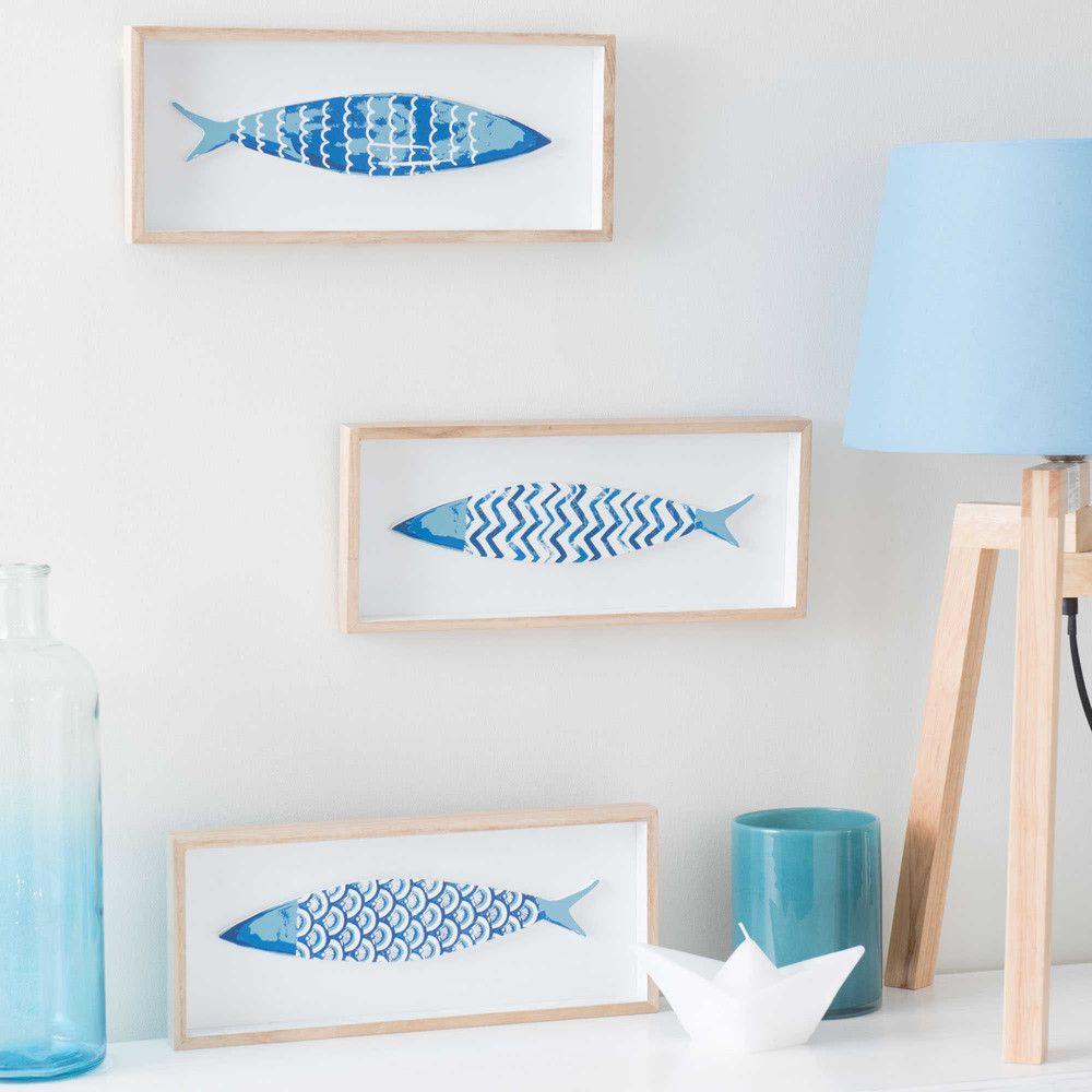 3 cuadros peces de madera azul 14 x 33 cm pez de madera for Cuadros de peces