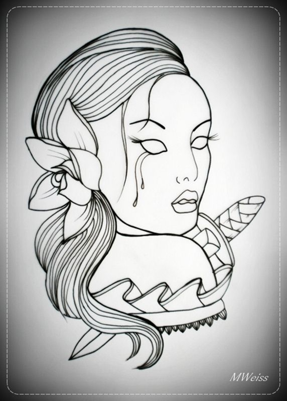 girl_with_dagger_tattoo_flash_outline_by_oldskulllovebymw