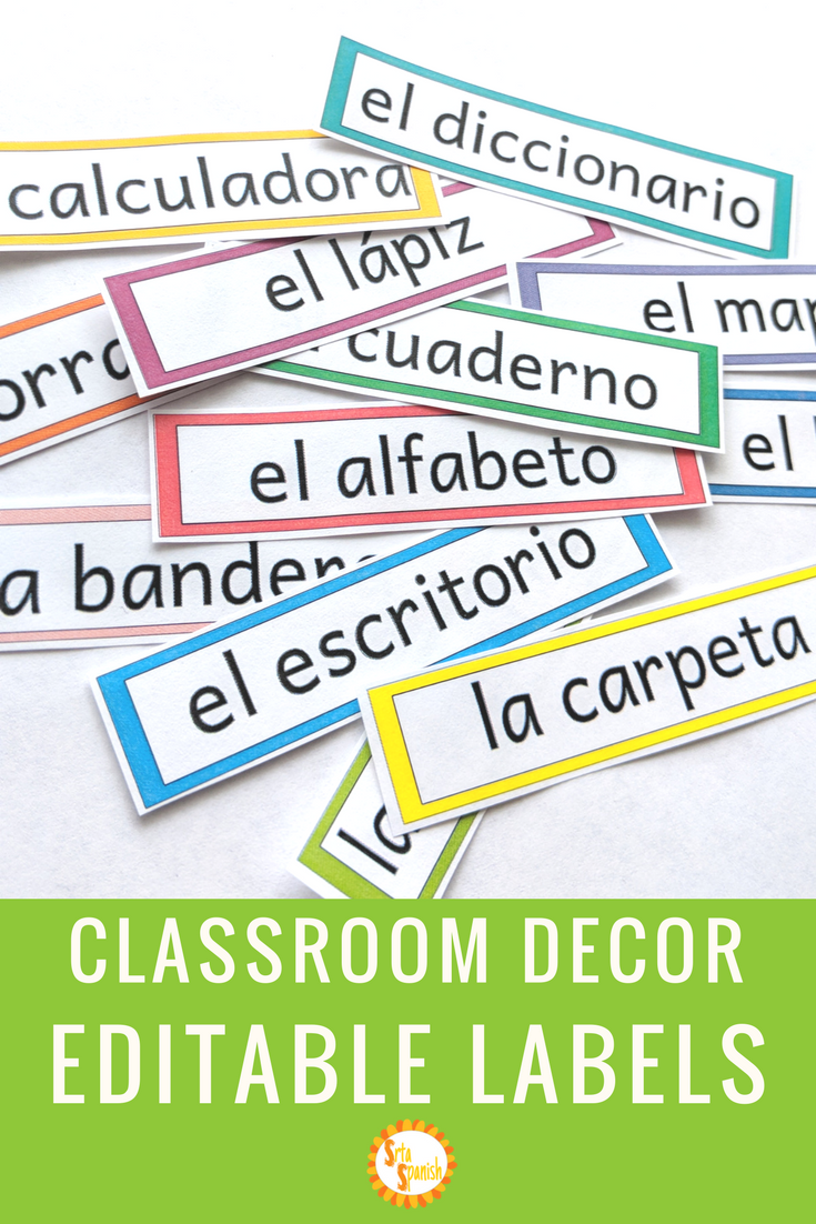 Editable Classroom Labels in Spanish #spanishthings