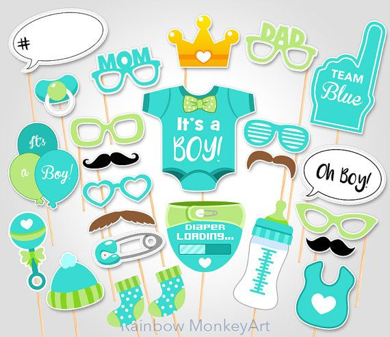 green baby shower photo props baby boy photobooth props