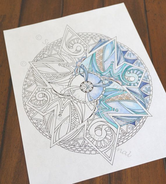 Coloring Page Mandala Coloring Page Adult by ColorMeArtStudio