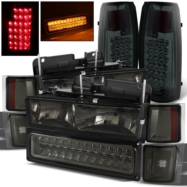 For 94 99 Chevy Tahoe Suburban Smoked Headlights Led Bumper Led Tail Lights Chevy Tahoe Chevy New Chevy Truck