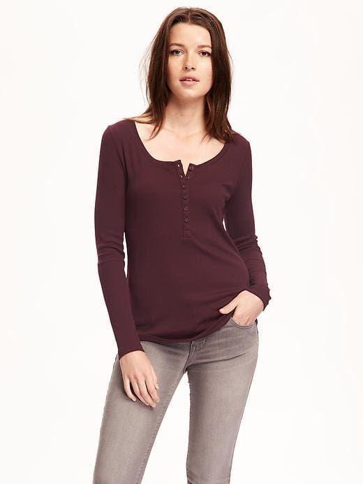 bd1ea4b77899dd Rib-Knit Henley for Women