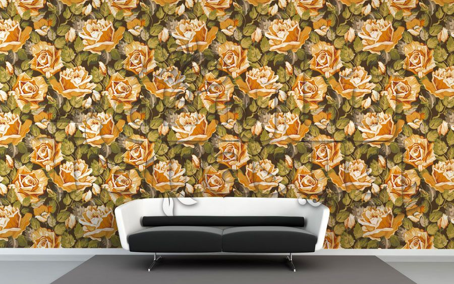 ورق حائط ورد برتقالي Tanasuq Printed Shower Curtain Shower Curtain Prints
