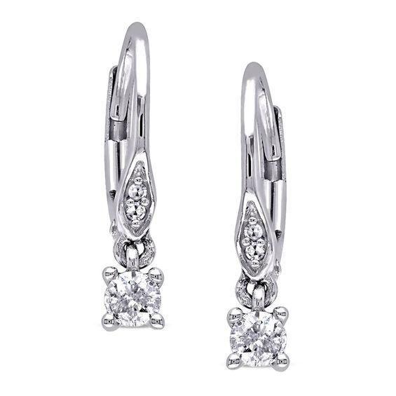 Zales 1/4 CT. T.w. Enhanced Black Diamond Flower Earrings in 10K White Gold I0SbTfpT