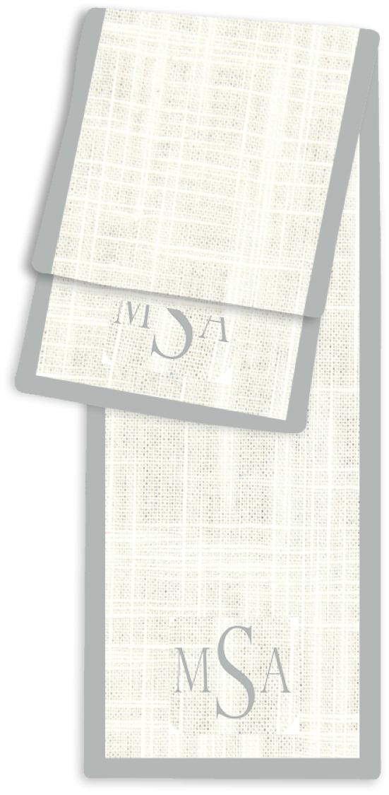 3-Letter Block Cream and Silver Monogram Table Runner