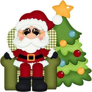 Silhouette Design Store - View Design #110443: santa claus in chair with christmas tree