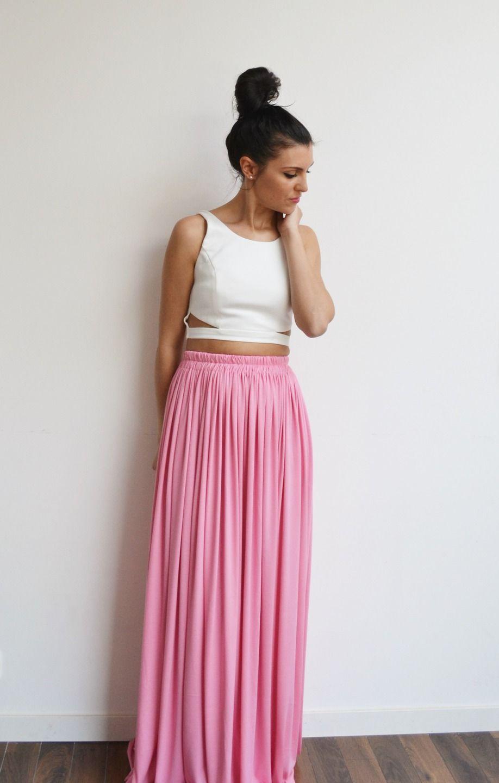 Maxi jupe longue rose taille haute, fluide et plissée tendance été style bohème : Jupe par menina-for-mathis