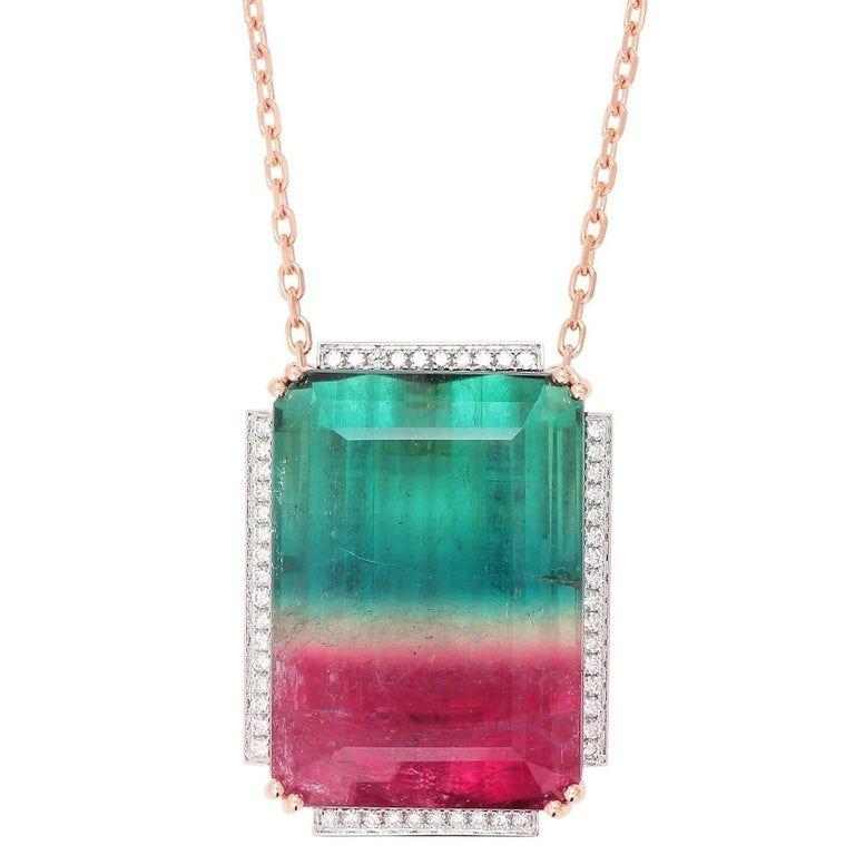 Rectangle Watermelon Bi Colored Tourmaline Gems Vintage Silver Necklace Pendants