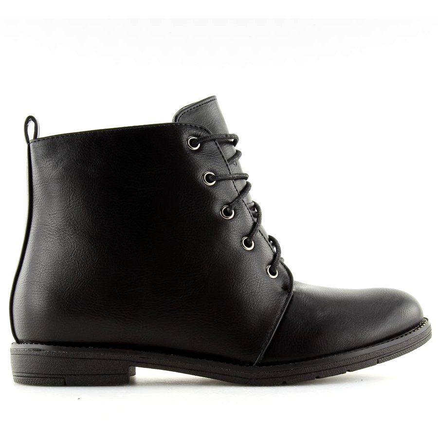Botki Sznurowane Czarne 3085 Black Lace Boots Boots Women Shoes