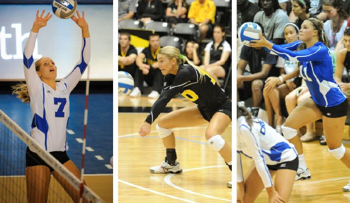 This Week S Volleyball Players Of The Week Are Creighton S Megan Bober And Kate Elman And Wichita State S Jackie Ch Volleyball Volleyball Players Wichita State