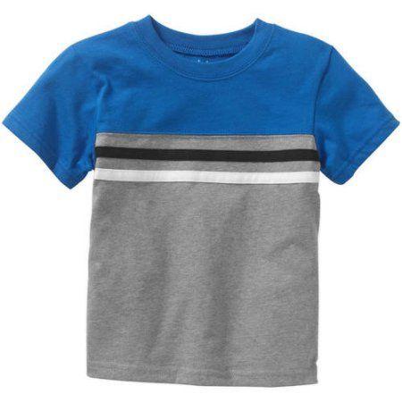 ea4312959 Garanimals Toddler Boy Short Sleeve Chest Striped Yoke Tee, Size: 25  Months, Gray