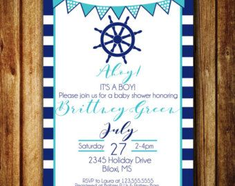 Set sail with this nautical baby shower invitation. #babyshower #baby #babshowerinvite #nautical #nauticaltheme #nauticalbabyshower #nauticalinvite