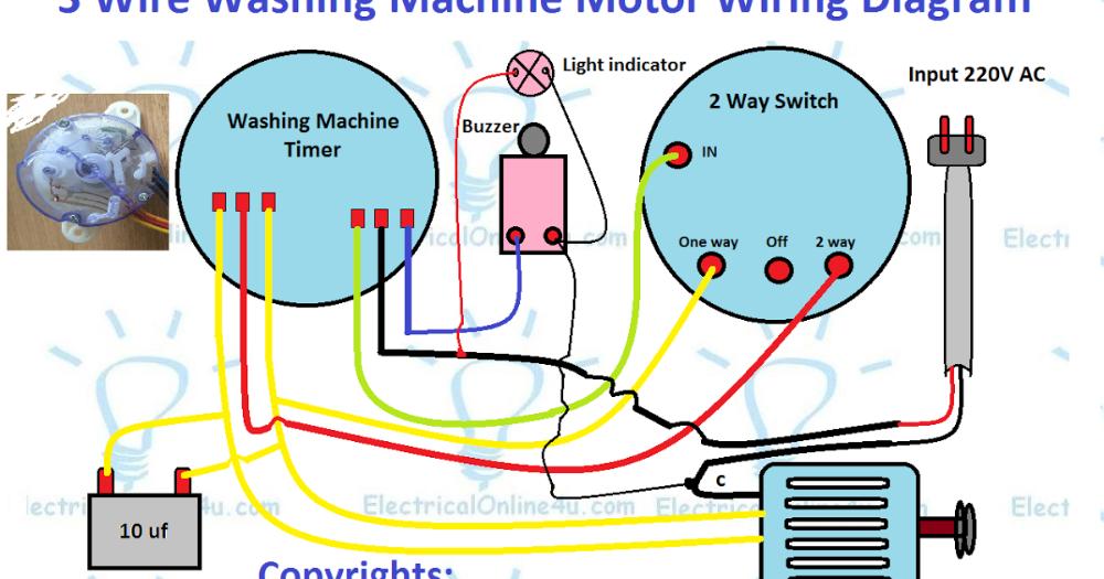 3 Wire Washing Machine Motor Wiring Diagram Electricalonline4u Nel 2020 Lavatrice