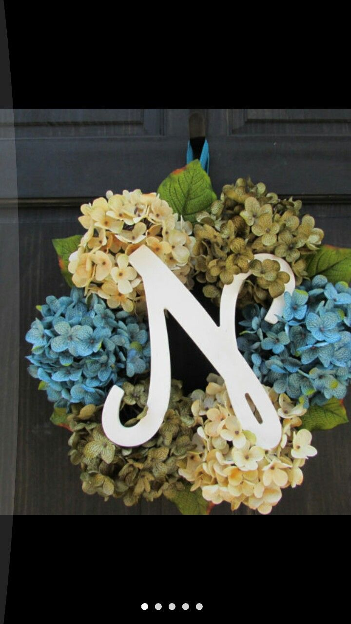 Pin by becky woods on diy cool pinterest spring hydrangea monogram door wreath spring wreath with initial for front door letter wreath for spring door decor wreath for sale rubansaba