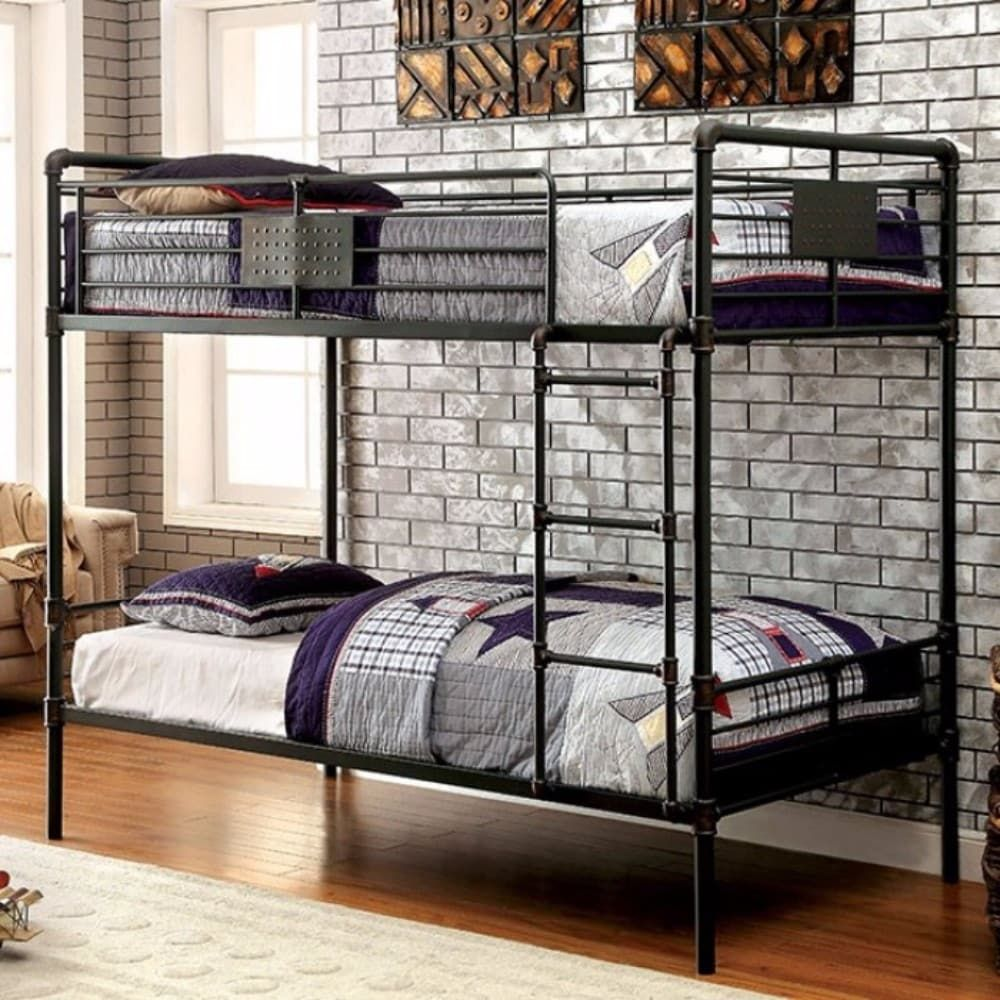 Twin Size Metal Bunk Bed In Sand Black Finish And Handpainting