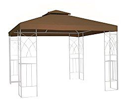 Kenley 2 Tier 10x10 Replacement Gazebo Canopy Awning Roof Top Cover Waterproof 250g Canvas 10 X 10 Beige Gazebo Canopy Gazebo Waterproof Pergola Covers