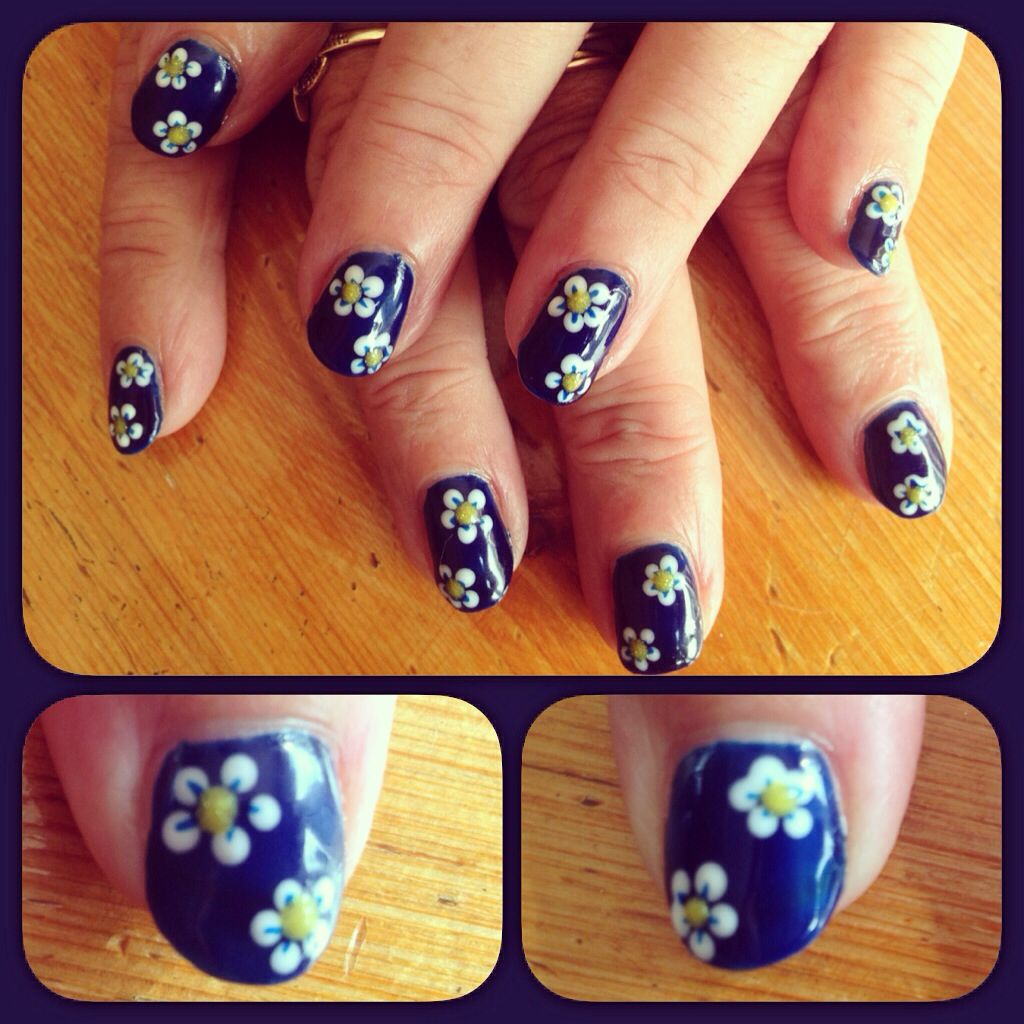 Flower nail art using Red Carpet Manicure\'s Midnight Affair, The ...