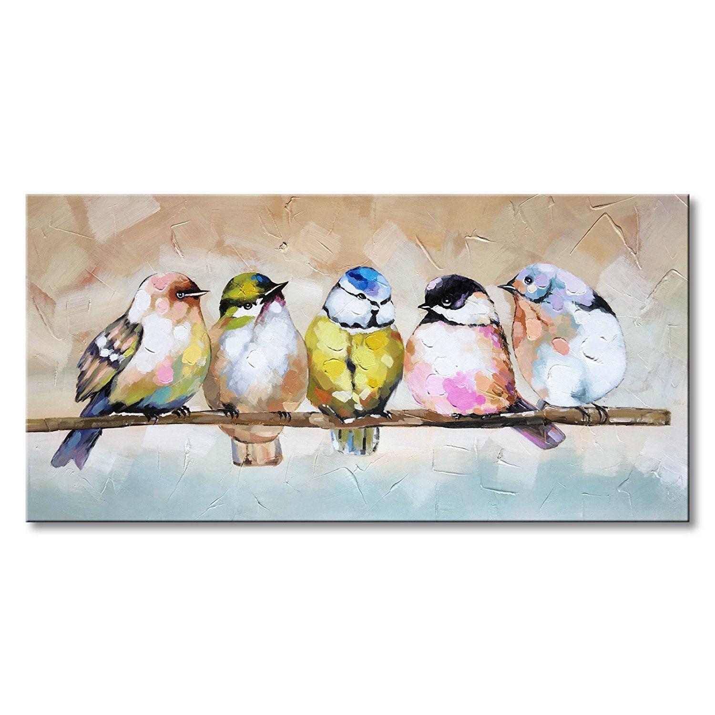 Art Handmade Bird Family Oil Painting Animal Canvas Wall Art Modern Decor Artwork Https My Artwork Co Bird Paintings On Canvas Animal Canvas Animal Paintings