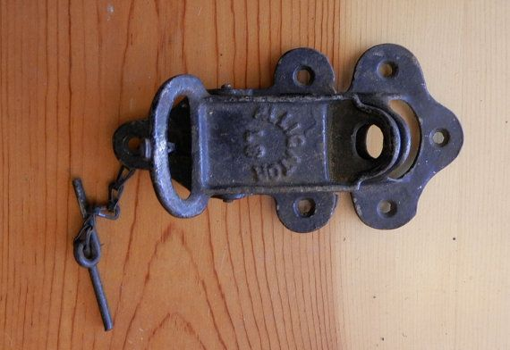 alligator latch for a double barn door, antique pc - Antique Alligator Latch For Barn Door Both Parts Hardware