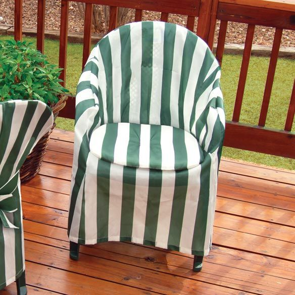 Striped Patio Chair Cover With Cushion Zoom