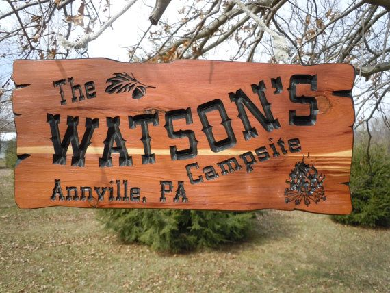 Last Name Campsite Sign Personalized Carved Wooden Rustic Engraved
