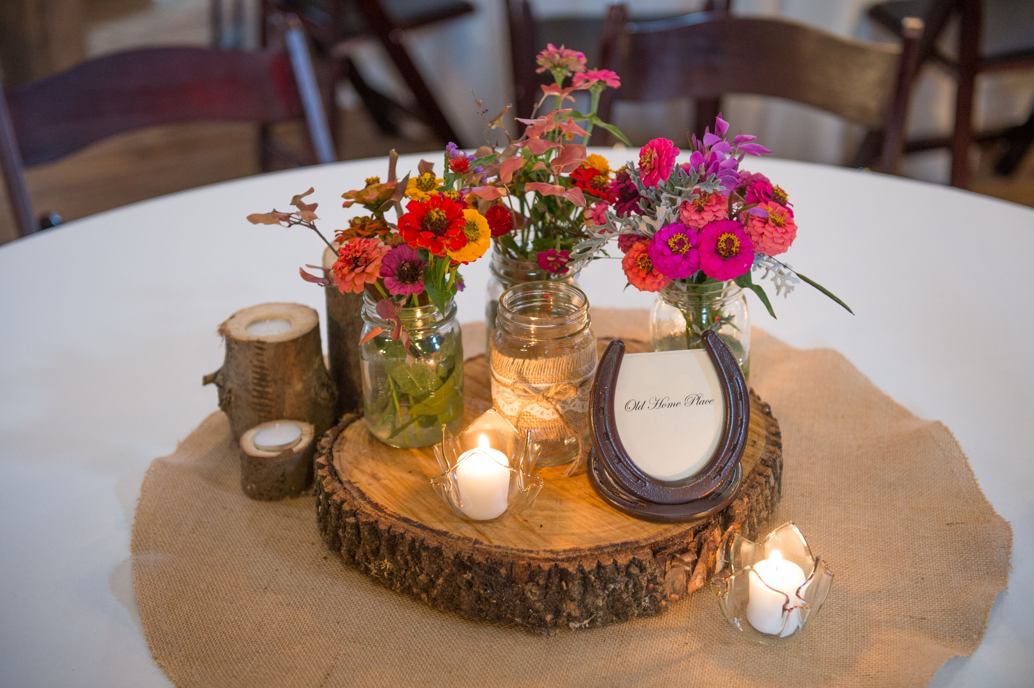 Farm Wedding Centerpieces Complete With Wildflowers Burlap