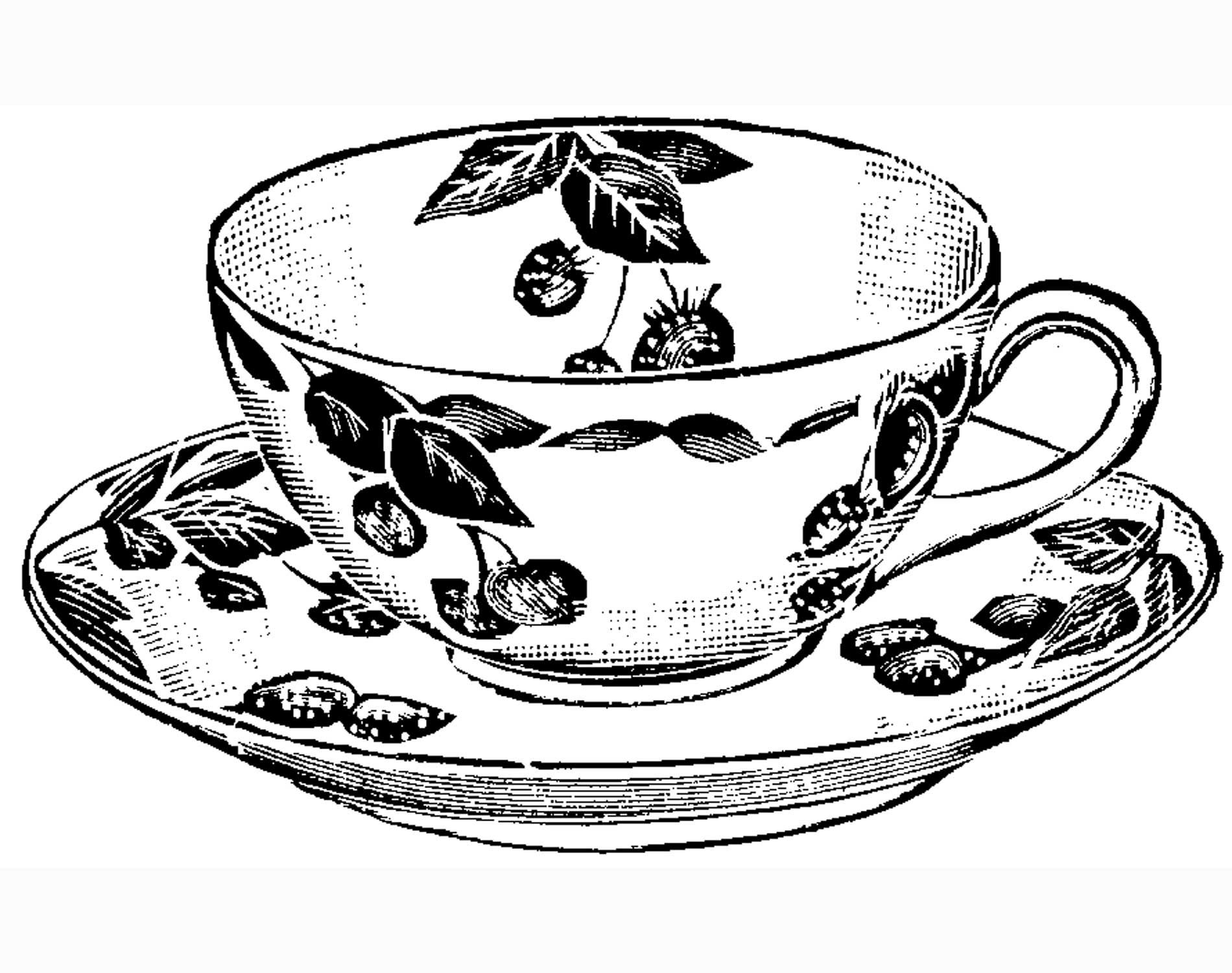 Coloring Pages Tea Cup Drawing Tea Cups Vintage Tea Cups