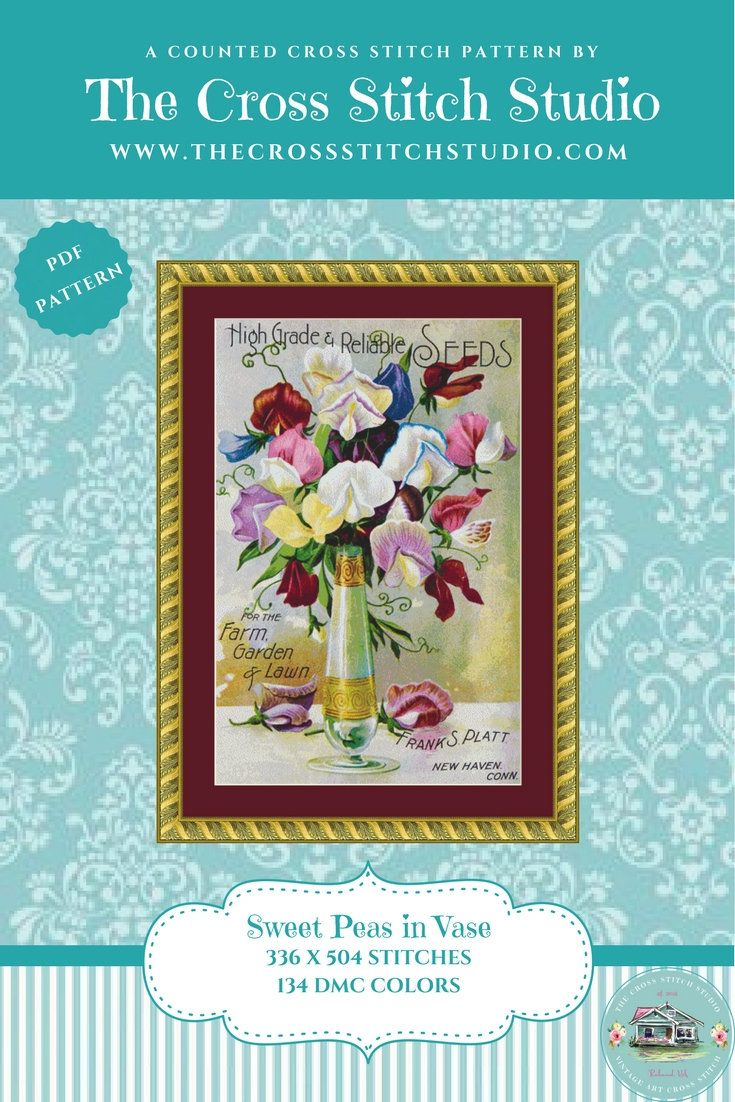 Sweet Pea Cross Sch Pattern Pdf Vintage Seed Packet Fl Home Decor Wall