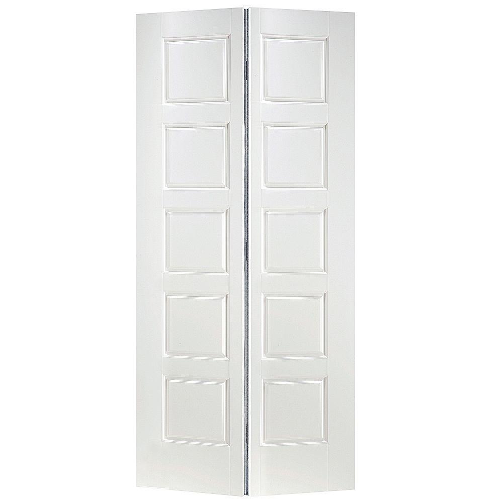 Masonite 36 In X 80 In X 1 3 8 In Riverside White 5 Panel Equal Smooth Hollow Core Interior Closet Bi Fold D In 2020 Bifold Doors Bifold Closet Doors Doors Interior