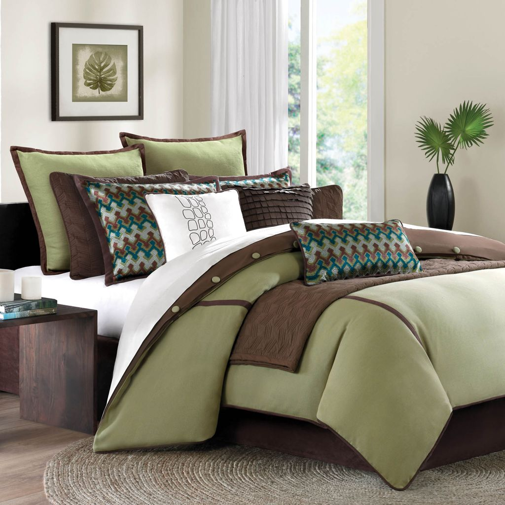 Outrageous Green And Brown Bedroom: Teal Green Brown King Comforter Set 10 Pc
