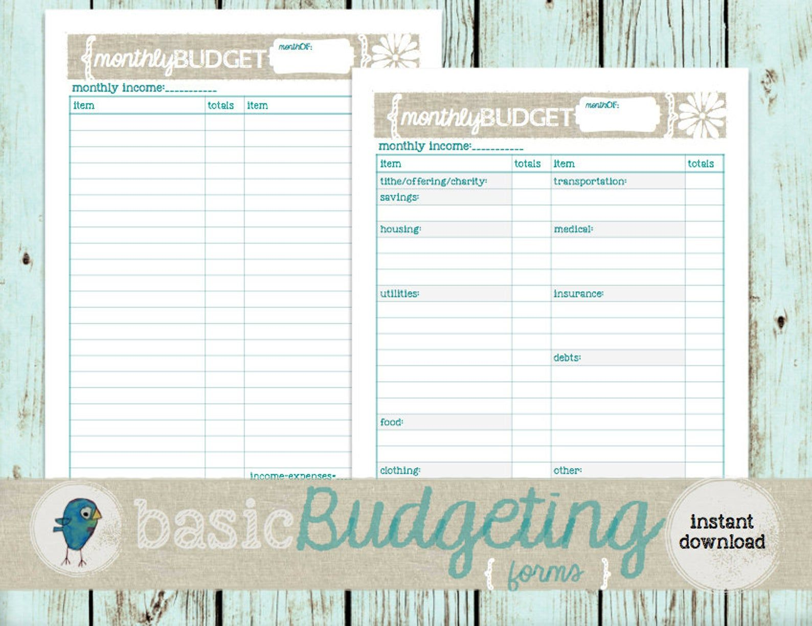 Budget Planner Forms Instant Download Printable Monthly