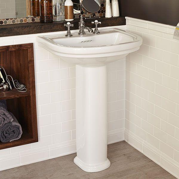 Dxv St George Pedestal Bathroom Sink Room Scene Canvas White