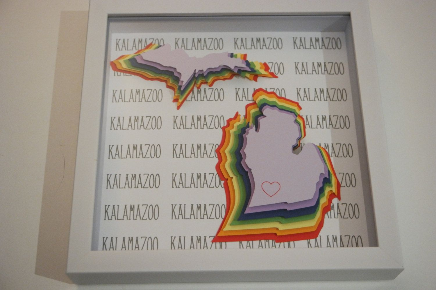 Kalamazoo, Michigan State Outline Framed 3D Art in 9\