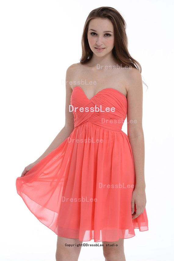 164cfac018a Coral Bridesmaid Dress Sweetheart Short Mini Chiffon by DressbLee ...