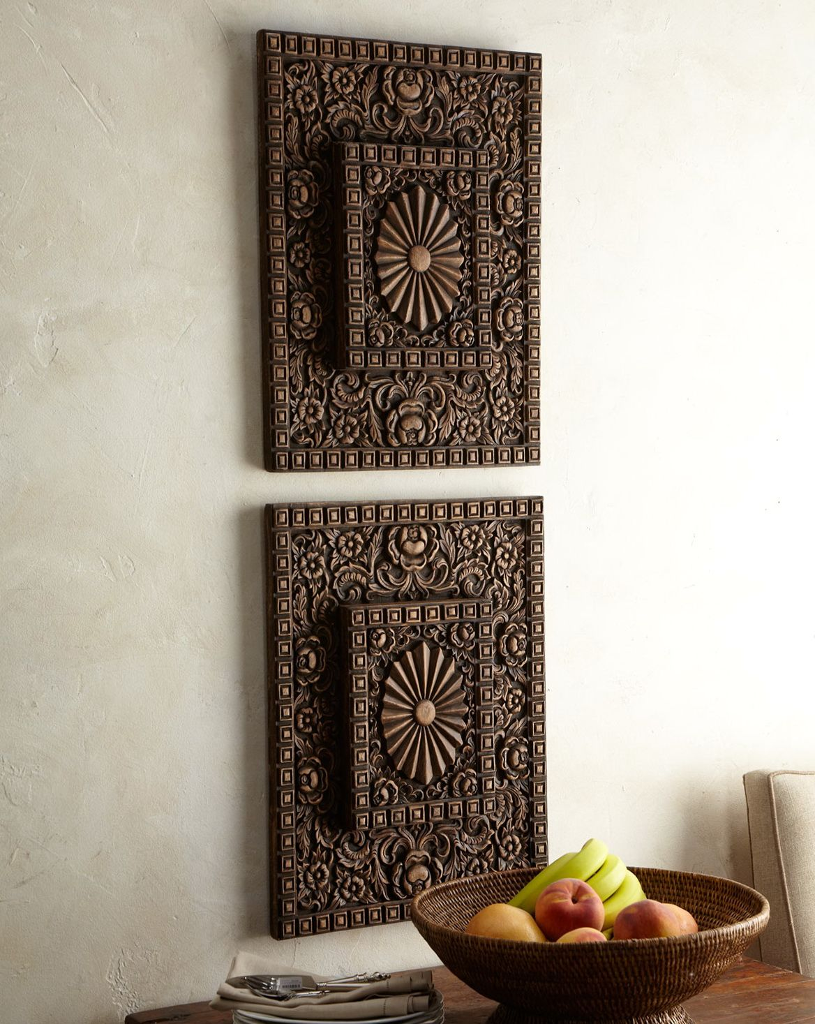 Wooden Wall Art Panels Part - 31: Asian Carved Wood Wall Art