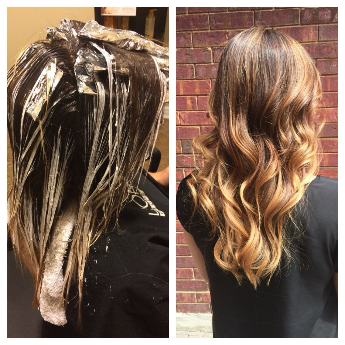 Before and after foil hilite and Balayage technique