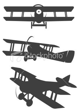 Biplane Silhouetes Royalty Free Stock Vector Art Illustration