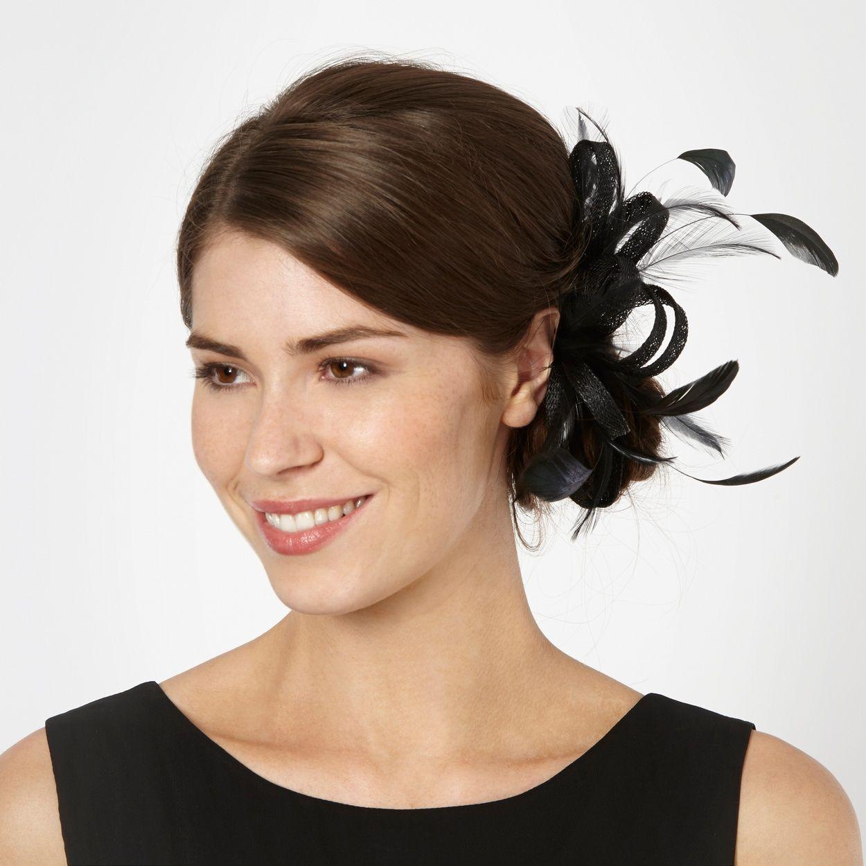 debut black loop & feather hair clip fascinator- at debenhams