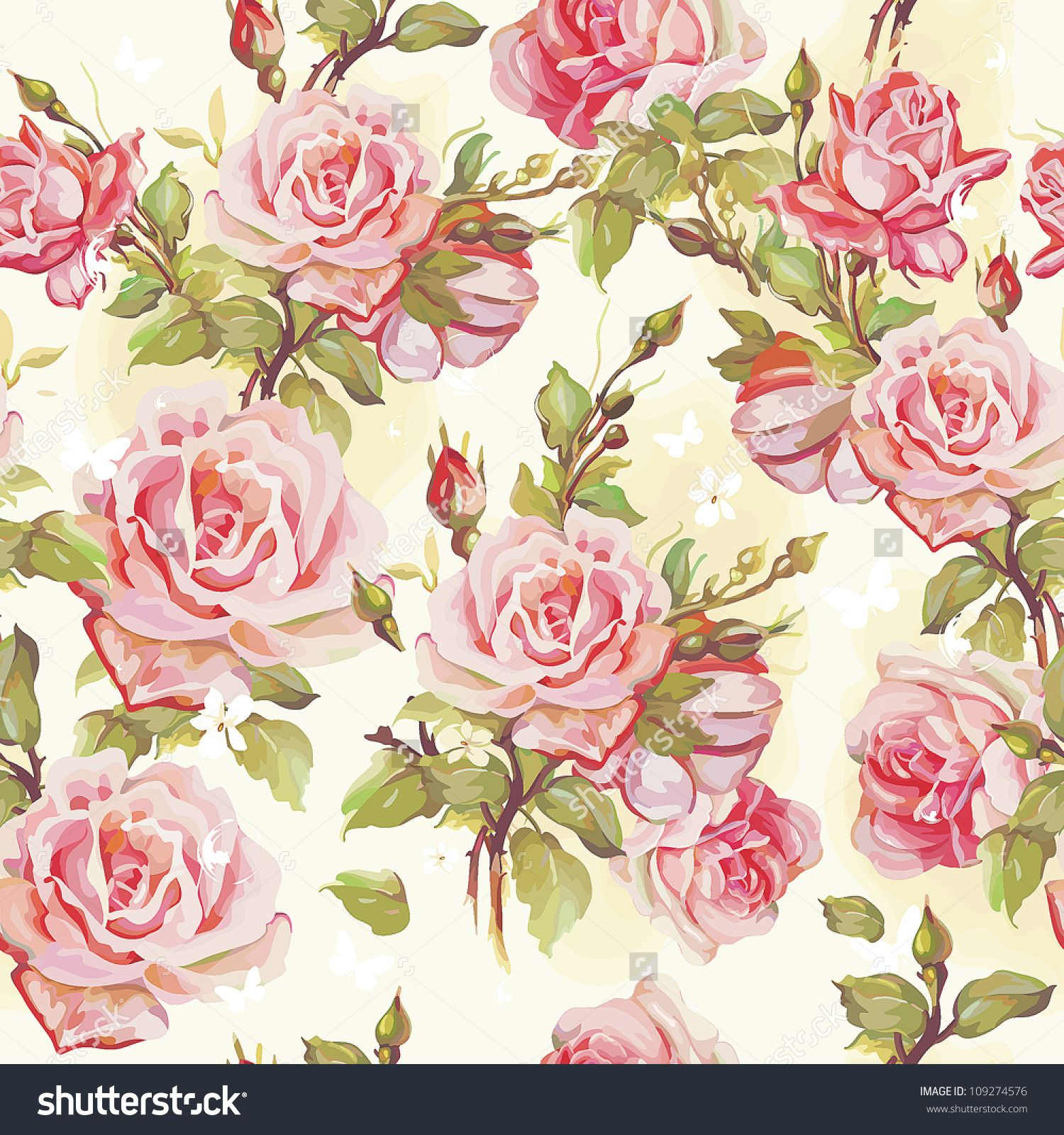 Classic Wallpaper Seamless Vintage Flower Pattern Stock ...
