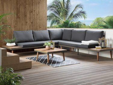 Salon de jardin en bois gris CORATO | Notre jardin idéal | Garden ...
