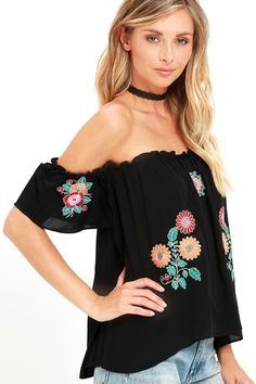 5f985b71cae Sweet Black Top - Off-the-Shoulder Top - Embroidered Top - $60.00 ...