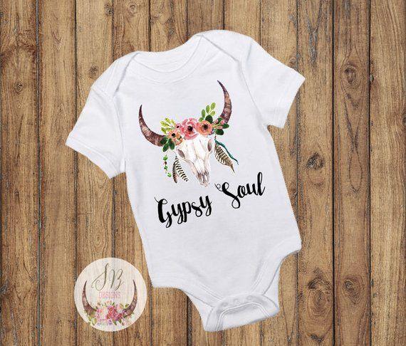 Floral Skull Gypsy Soul Onesie, Antler Name Onesie, Baby